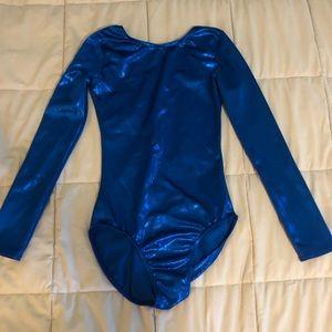 girls large long sleeve blue leotard